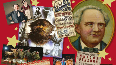A collage of old portraits and pictures of PT Barnum.