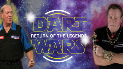 Dart Wars Return of the Legends logo with pictures of John Lowe MBE and Bobby George.