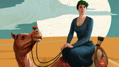 A bright coloured illustration of a dark haired woman in long dark dress sitting on a camel against a bakground of sand.