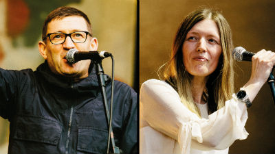 Paul Heaton and Jacqui Abbott holding microphones.