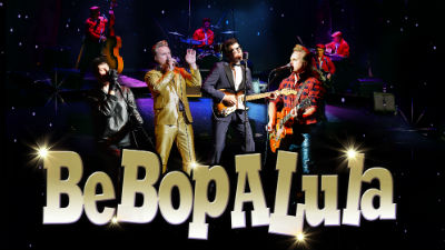 The cast of Be Bop a Lula stand on stage with gold text reading 'Be Bop a Lula' along the bottom