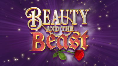 Beauty and the Beast logo on a sparkly purple background.