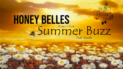 A yelloe field filled with daisies and the text 'Honey Belles, Summer Buzz'