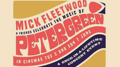 A mustard yellow, red and blue swirled background with the text 'Mick Fleetwood and Friends celebrate the music of Peter Green'