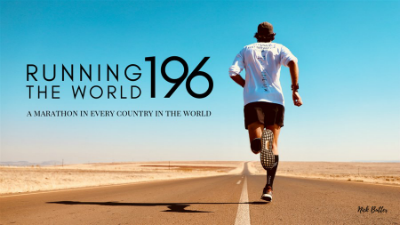 Nick Butter runs down a deserted road. To the left, the text 'Running the World 196'