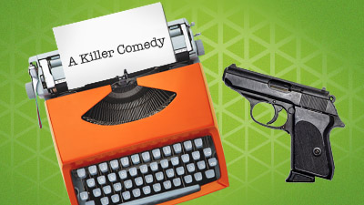 A vintage, orange typewriter sits next to a gun on a green desk.