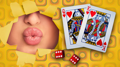 An image of a lady pouting through a ripped hole in some 70's yellow wallpaper. Also on the page are two die and a king and queen playing cards.