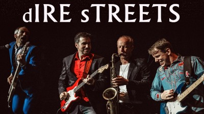 Members of Dire Streets hold their instruments on stage with the text 'Dire Streets'