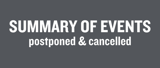 A dark grey background with white text reading SUMMARY OF EVENTS postponed and cancelled.
