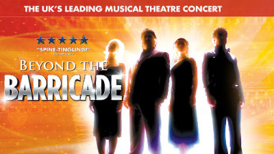 Silhouettes of the cast of Beyond the Barricade stand against an orange background. Text reads ''Beyond the Barricade