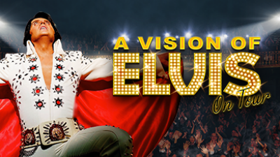 Rob Kinglsey as Elvis in a white jewelled jumpsuit with gold text 'A Vision of Elvis'