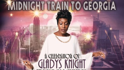 Hayley-Ria Christian as Gladys Knight against a city skyling backdrop. Text reads 'Midnight Train to Georgia celebrating Gladys Knight'