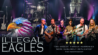 The Illegal Eagles on stage juxtaposed with an illustration of an eagle and the text 'The Illegal Eagles'