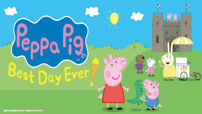 Peppa Pig and George stand in front of a castle and an ice cream van. Text reads 'Peppa Pig's Best Day Ever!'