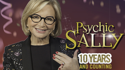 Psychic Sally Morgan, close up against a deep red background with the text 'Psychic Sally, 10 Years and Counting'