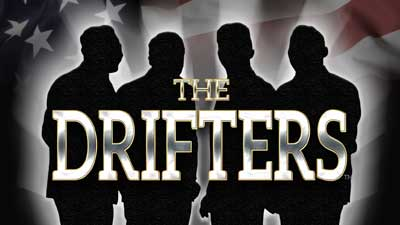 A silhouette of the Drifters with the text 'Drifters' overlaid in white.