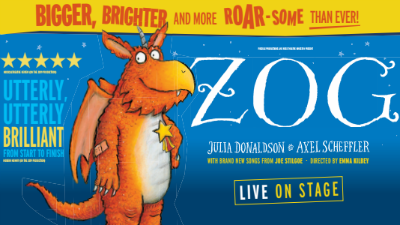 An illustration of the children's character Zog against a blue background with the text 'Zog - Live on Stage'