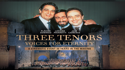 The Three Tenors juxtaposed with an image of an auditorium.