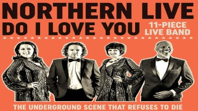 The members of Northern Live against a bright orange backdrop with the text 'Northern Live Do I Love You'