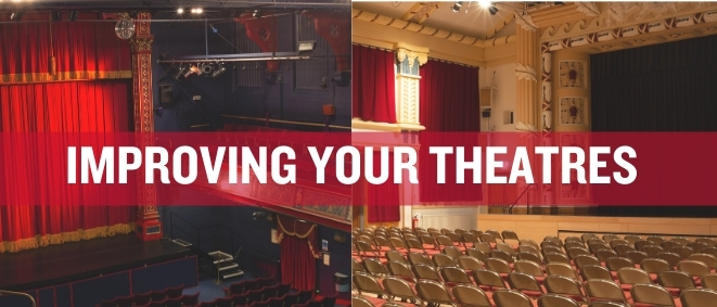 The Winding Wheel auditorium juxtaposed with the Pomegranate Theatre auditorium with white text reading 'Improving Your Theatres'