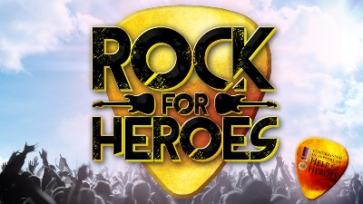 The 'Rock for Heroes' over a guitar pick against a backdrop of a concert crowd.
