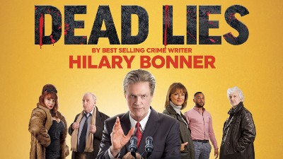 A deep yellow backgrouns with black capitals reading 'DEAD LIES' over an image of the cast memners.